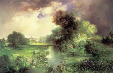 June East Hampton landscape Thomas Moran brook Oil Paintings